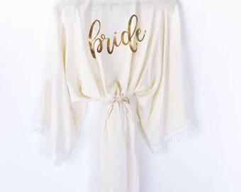Cotton Lace Bridal Party Robes