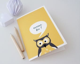 """Double post card """"Hello you"""" illustrated with an OWL"""