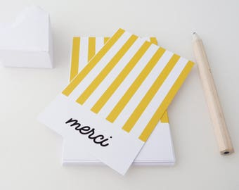 Set of 18 yellow striped thank you cards