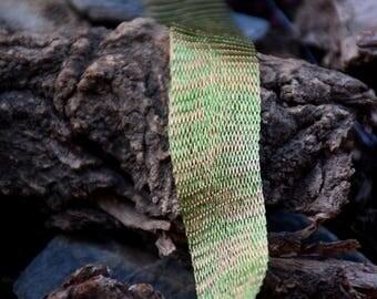 Titanium Tubular Mesh Ribbon. Mesh Wire. Titanium Mesh. Wire Lace . Green. Gold. 1 mt.  Ribbon Supplies-  NC01