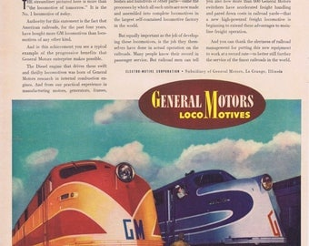 1941 General Motors Locomotives Original Vintage Ad Railways