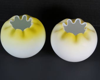 A Pair of Vintage Mt. Washington Cased Yellow Satin Glass Rose Bowls.