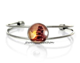 Bracelet chocolate and lemon glass cabochon