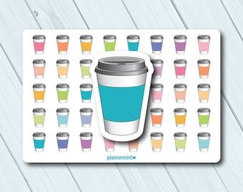 Coffee Cup Planner Stickers - Icon - Erin Condren Life Planner - Happy Planner - Mocha - Latte - Joe - Caffeine - Drink - Matte or Glossy
