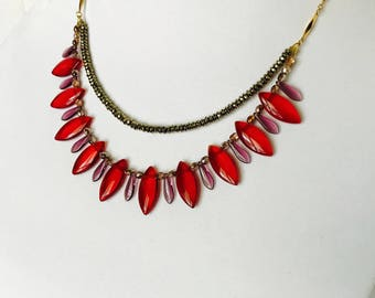Handmade Lovely Red and Purple Gold Beaded Two Stranded Necklace
