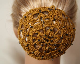 Covers bun, mustard yellow, boho Chic