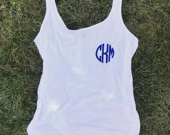 Monogrammed Drapey Tank- Ladies Tank Top- Personalized Tank-  Womans Initial Tank Top