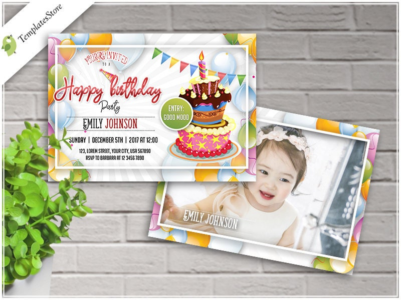 birthday invitation party invitation kids invitation 5x7 birth