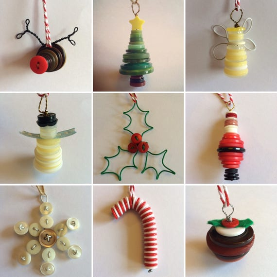 Button Christmas Decoration- tree, snowman, robin, candy cane, angel lots mpre to choose from!