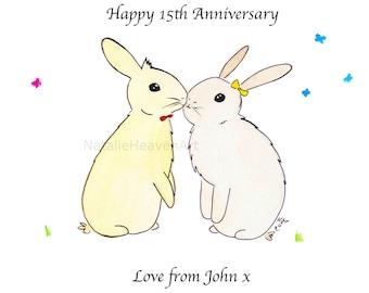 Cute Gift for Girlfriend Couples Gift Anniversary Wedding Present Bunny Print Gift Ideas Birthday Boyfriend Husband Gift Wife Love Rabbits