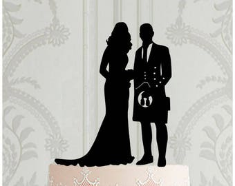 Wedding Cake Topper, Scottish Wedding Cake Topper, Wedding Cake Decoration, Wedding Decor,  Scottish Kilt, Scottish Wedding Decoration