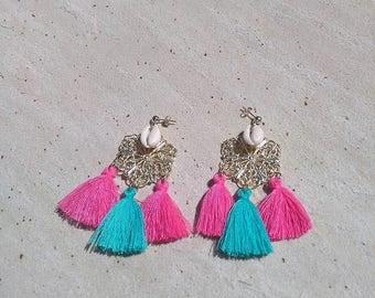 Boucles d'oreilles Estampe en plaqué or et coquillage Cauri Turquoise/rose