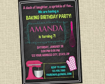 Baking Chalkboard Birthday Invitation - Cooking Chef Birthday Party Invitation - Birthday Party Invite - Digital Personalized Customized