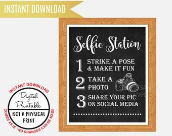 Selfie Station Sign, Grab a Prop & Strike a Pose Sign, Photo Booth Sign Wedding Bridal Shower sign , Baby Shower, Printable, Chalkboard Sign