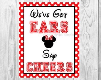 "We've Got Ears Say Cheers Sign, Minnie Mouse Birthday Party Sign, 8""x10"" Printable, Instant Download"