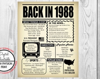 30th Birthday Poster Sign, Back in 1988 Newspaper Style Poster, Printable, Instant Download, 1988 Facts, 30 years ago, Anniversary Gift
