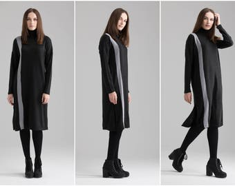 CLEARANCE Casual Dress \Short Loose Dress Long Sleeve Dress Loose Sweater Dress Midi Dress Oversized Dress Over Size Tunic Black Dress A0070