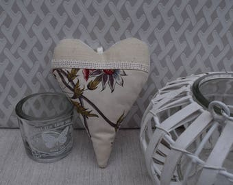Heart door cushion fabric floral cream and linen lace - decorative heart - floral fabric heart - hanging heart - wall decor
