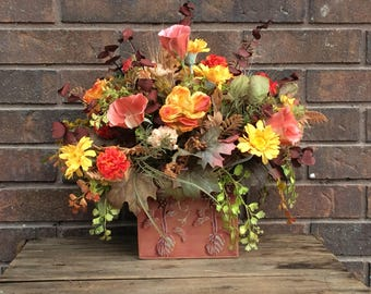 Artificial Flower Arrangement, Fall Table Centerpiece, Autumn Flowers for the Table,  Fall Floral In Tin Container, Made in Canada