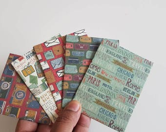 Set of 5 // Travel themed Gift Card Holders // Gift Card Envelopes // Mini Envelopes // Gift Envelopes //
