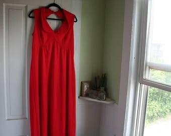 Size 8 / 10 Vintage Dress 1960's Orange / Red Dress Long