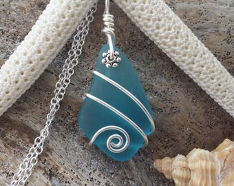 Handmade in Hawaii wire wrapped  blue sea glass necklace, Sterling silver chain, gift box.Hawaiian  jewelry.Sea glass jewelry. Gift for her.