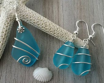 Made in Hawaii, Wire wrapped blue sea glass necklace + earrings jewelry set,925 sterling silver chain, Beach jewelry gift.