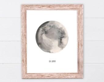 La Luna Print | Moon Poster | La Luna Wall Art | La Luna | Full Moon Print | Moon Art Print | La Luna Printable | Full Moon Printable