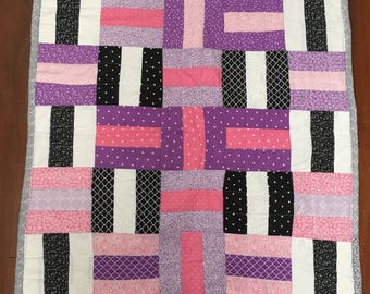 """Pink and Purple, Black and White """"Rails"""" quilt"""