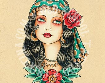 Gypsy Woman. Old School Tattoo print.