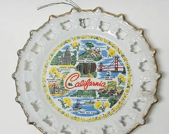 Vintage California Souvenir Ceramic Plate Lace Design California San Francisco