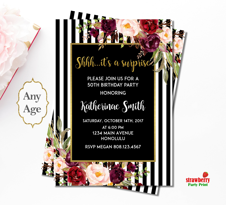 50th Birthday Invitation For Women. Black and White Birthday ...