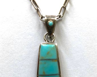 Vintage Old Pawn Native American turquoise sterling silver necklace