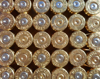 9MM brass, once fired bullet casings, cleaned and polished. This brass is great for reloading, jewelry making, steampunk, and other crafts.