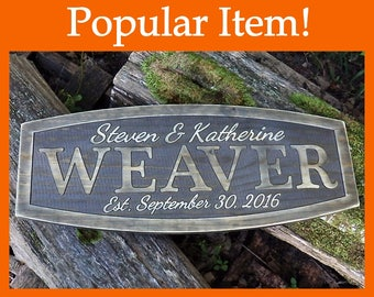 Grey last name sign 5th anniversary gift Distressed established sign Last name wall decor Wedding date signs Wood marriage gift