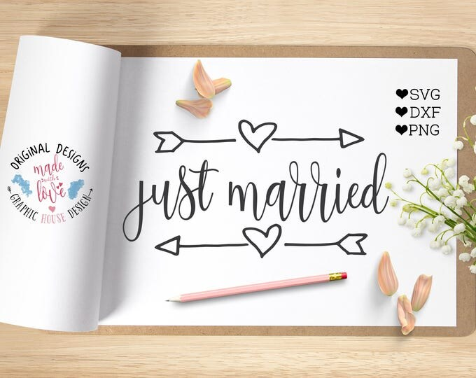 just married svg, wedding svg, wedding cutting file for silhouette and just married cutting file, just made iron on, just married clipart,