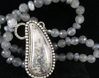 Arborescent Native Silver Cabochon in Dolomite with a Smoky Quartz and Silverite Necklace