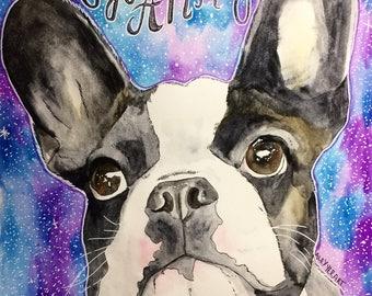 Custom Watercolor Dog Drawing- single dog portrait