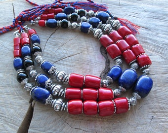 Coral necklace-red necklace-ukrainian necklace-multistrand necklace-Coral jewelry-Traditional necklace-Ethnic-