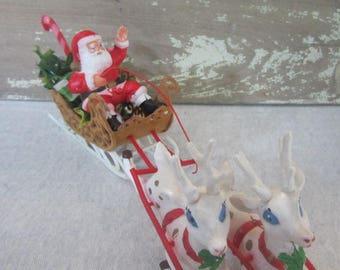 Vintage Kitschy Santa Sled & Reindeer Vintage Christmas Decor Plastic Santa And Reindeer