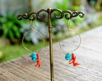 Sardinian Coral and Turquoise Hoop Earrings