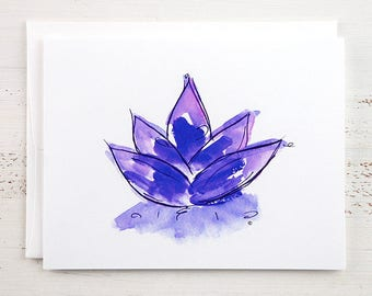 Purple Lotus Note Card