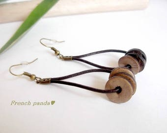 Earrings leather and beads coconut