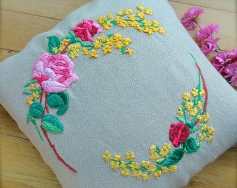 "Beautiful ""Rose & Mimosa"" Hand Crewel Embroidered Vintage Cushion Cover Raised Florals"