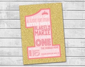 1st Birthday Invitation, Pink and Gold Birthday Invitation, Pink and Gold Invitation, 1st Birthday, One, First Birthday, Birthday, 5x7