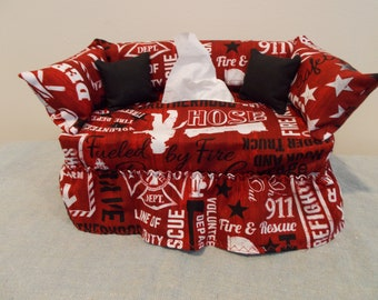 Firefighters couch tissue box cover.