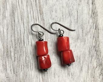 Niobium natural red coral branch barrel tube earrings hypoallergenic for sensitive ears goth badass babe biker black