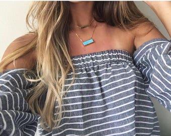 Blue Gold Bar Choker Necklace