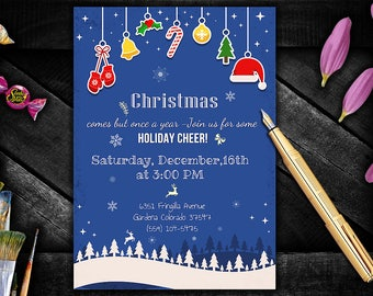 Christmas Party Invitation Printable, Holiday Invitation, Christmas Invitation, Christmas Party Invitation