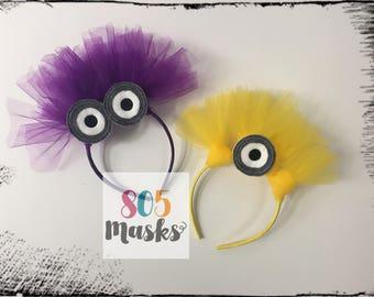Despicable Me Minion Inspired Head Bands, Minions Costume,  Kids Headband, Kids Costumes, Minion Birthday, Minion Halloween, Minion Dress up
